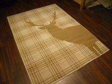 Rugs Approx 8x5 160x230cm Woven Backed stag Rugs Great Quality cream/Taupe Check